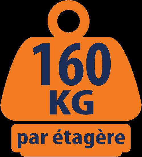 Unité de Stockage Chromé de Charges Lourdes, Coin à 5 Niveaux 115KG (capacité de charge massive de 575KG) - 1500mm H x 350mm L x 350mm P